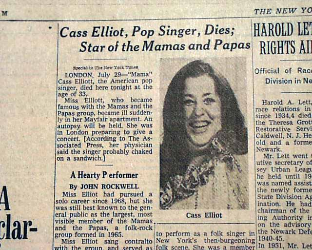 Cass elliot death